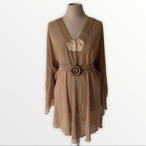 Tan sheer tunic with belted waist